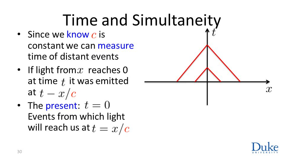 Time and Simultaneity Since we know is constant we can measure time of distant events If light from reaches 0 at time it was emitted at The present: Events from which light will reach us at 30