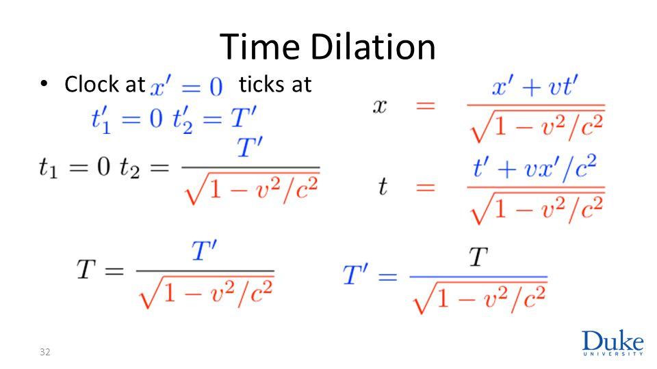 Time Dilation Clock at ticks at 32