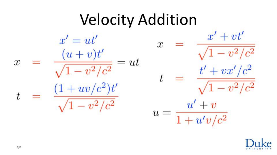 Velocity Addition 35