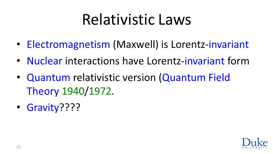 Relativistic Laws Electromagnetism (Maxwell) is Lorentz-invariant Nuclear interactions have Lorentz-invariant form Quantum relativistic version (Quant