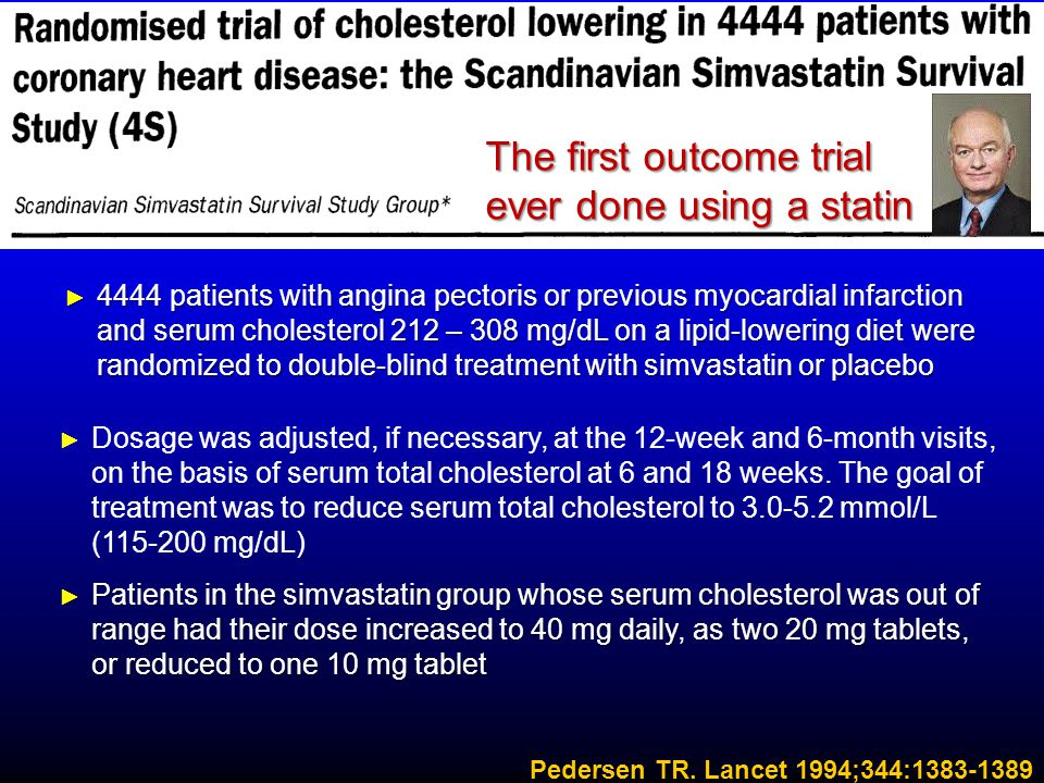► Dosage was adjusted, if necessary, at the 12-week and 6-month visits, on the basis of serum total cholesterol at 6 and 18 weeks. The goal of treatme