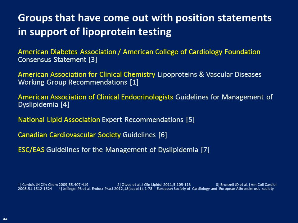 44 Groups that have come out with position statements in support of lipoprotein testing American Diabetes Association / American College of Cardiology