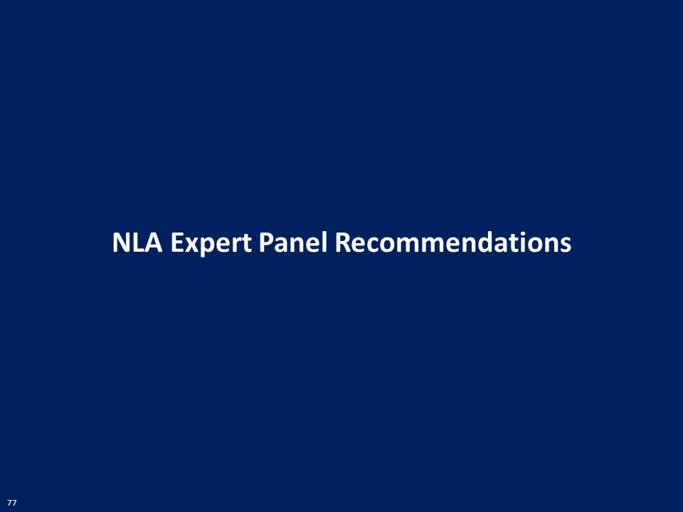 77 NLA Expert Panel Recommendations