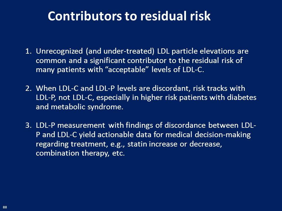 """88 1.Unrecognized (and under-treated) LDL particle elevations are common and a significant contributor to the residual risk of many patients with """"acc"""