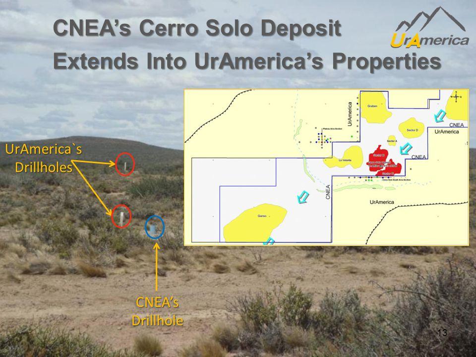 CNEA'sDrillholeCNEA'sDrillhole UrAmerica`s Drillholes 13 CNEA's Cerro Solo Deposit Extends Into UrAmerica's Properties