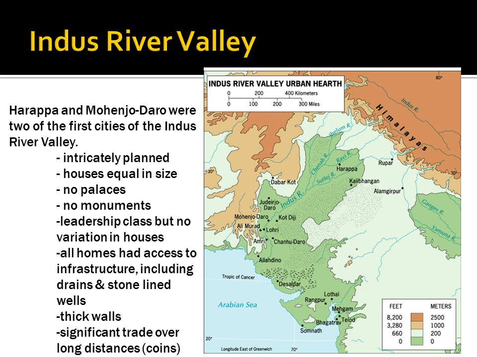 Harappa and Mohenjo-Daro were two of the first cities of the Indus River Valley. - intricately planned - houses equal in size - no palaces - no monume