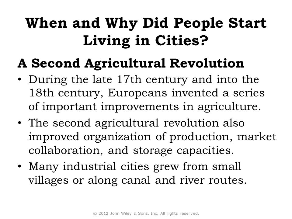 During the late 17th century and into the 18th century, Europeans invented a series of important improvements in agriculture. The second agricultural