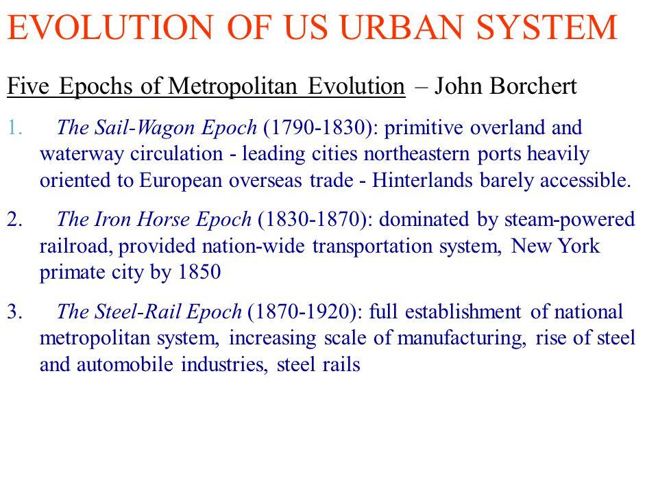 EVOLUTION OF US URBAN SYSTEM Five Epochs of Metropolitan Evolution – John Borchert 1. The Sail-Wagon Epoch (1790-1830): primitive overland and waterwa