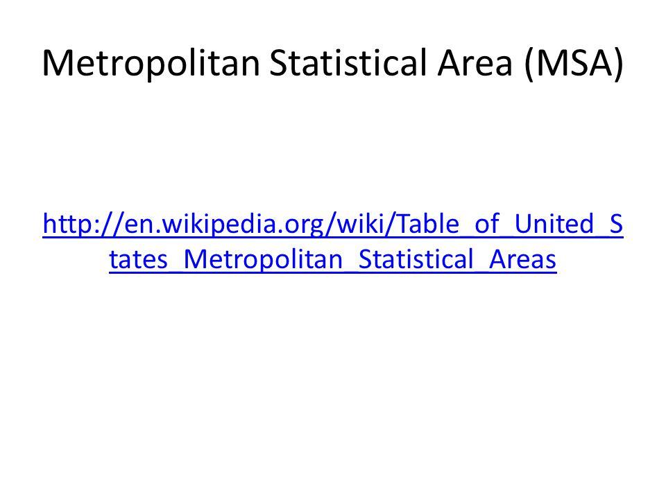 Metropolitan Statistical Area (MSA) http://en.wikipedia.org/wiki/Table_of_United_S tates_Metropolitan_Statistical_Areas