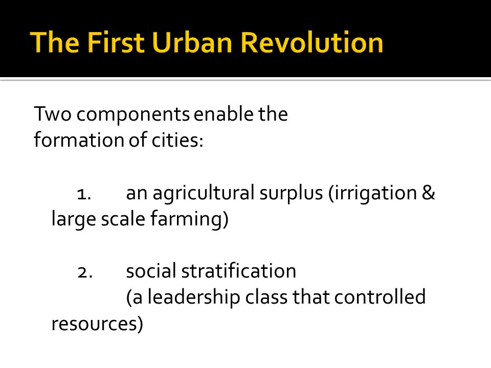 The innovation of the city is called the first urban revolution, and it occurred independently in six separate hearths, a case of independent invention.