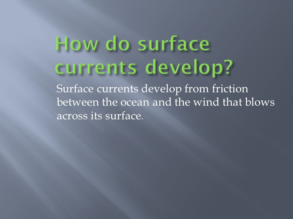 Surface currents develop from friction between the ocean and the wind that blows across its surface.