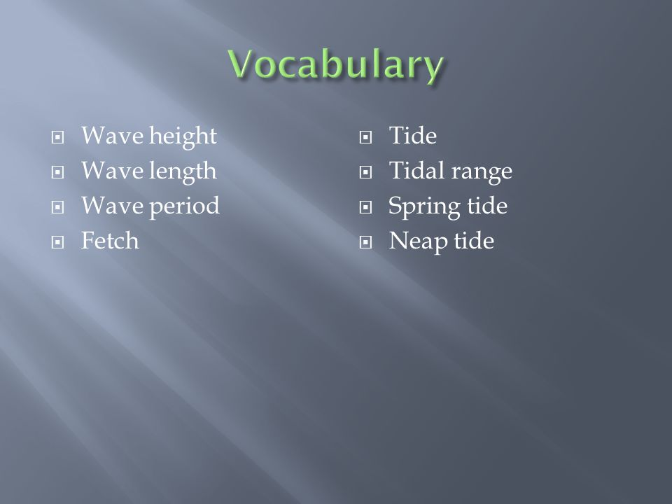  Wave height  Wave length  Wave period  Fetch  Tide  Tidal range  Spring tide  Neap tide