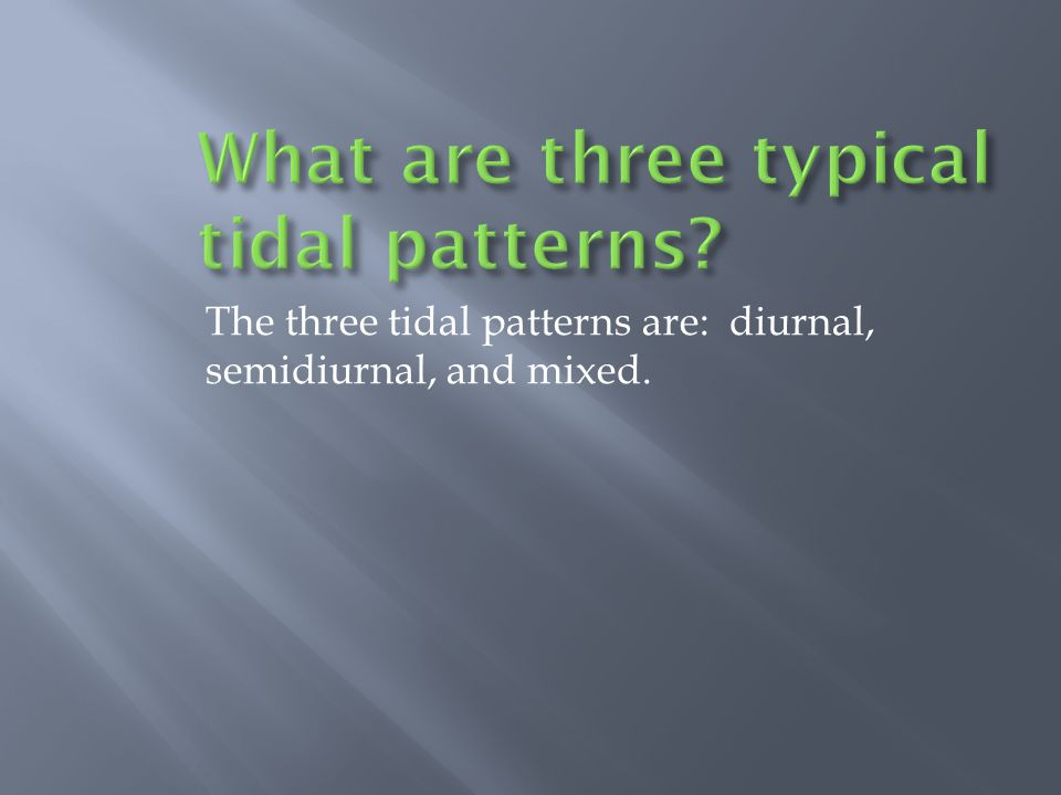 The three tidal patterns are: diurnal, semidiurnal, and mixed.