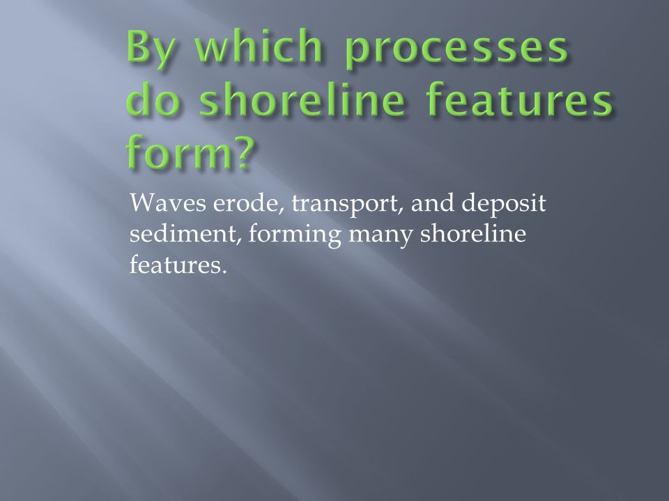 Waves erode, transport, and deposit sediment, forming many shoreline features.