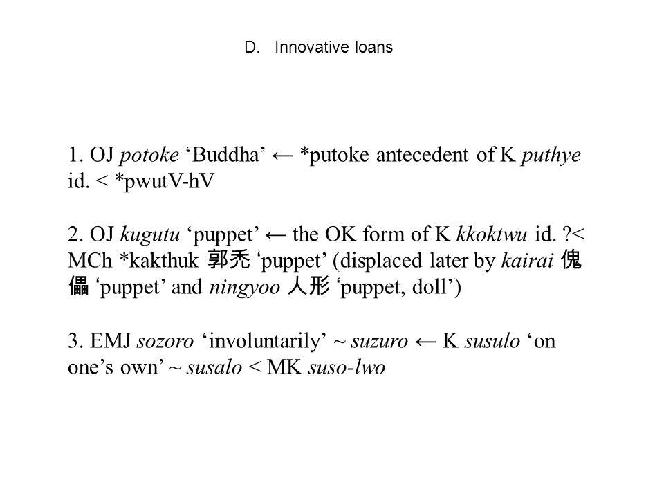 D. Innovative loans 1. OJ potoke 'Buddha' ← *putoke antecedent of K puthye id.