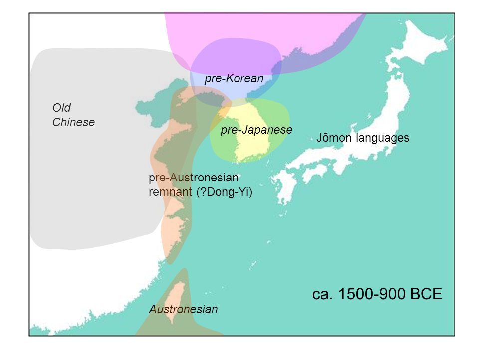 Old Chinese Jōmon languages Austronesian pre-Austronesian remnant ( Dong-Yi) ca.