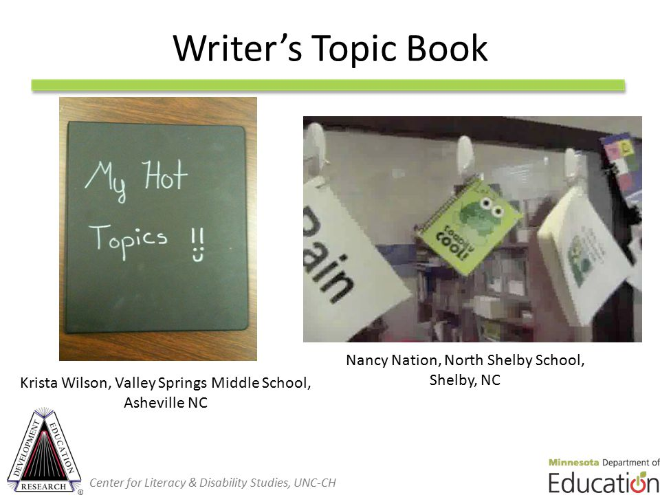 Writer's Topic Book Krista Wilson, Valley Springs Middle School, Asheville NC Nancy Nation, North Shelby School, Shelby, NC Center for Literacy & Disability Studies, UNC-CH