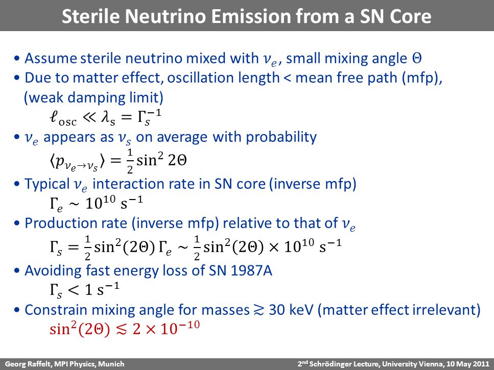 Georg Raffelt, MPI Physics, Munich 2 nd Schrödinger Lecture, University Vienna, 10 May 2011 Sterile Neutrino Emission from a SN Core