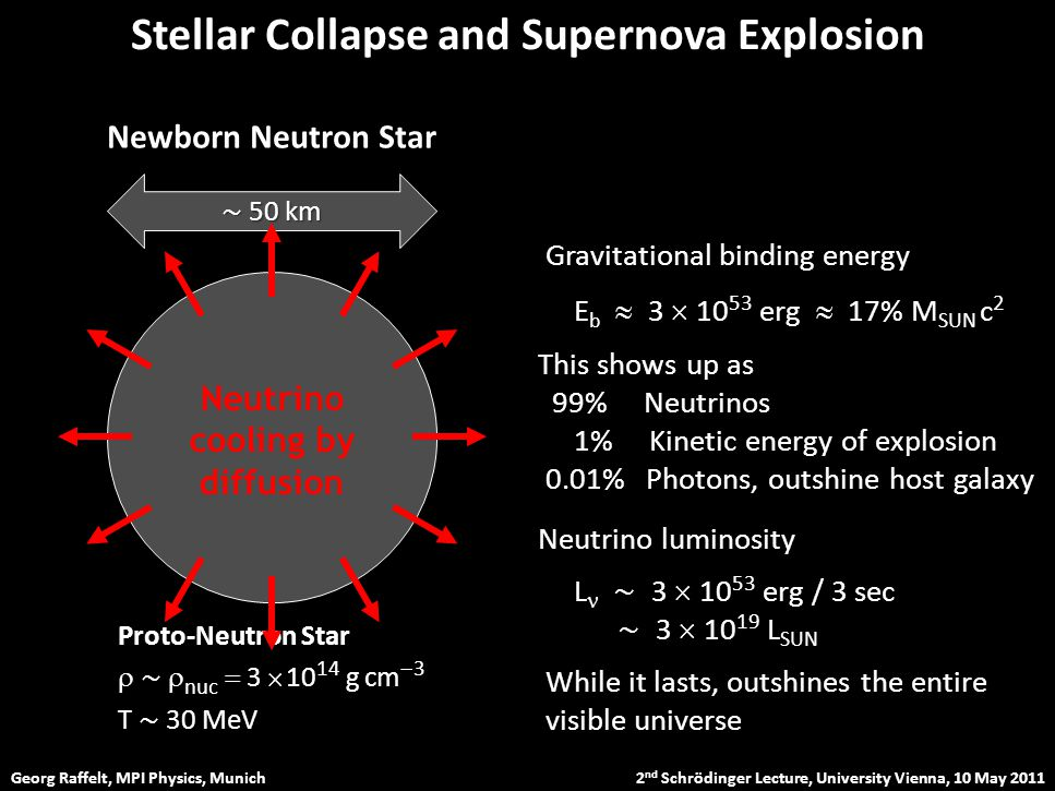 Georg Raffelt, MPI Physics, Munich 2 nd Schrödinger Lecture, University Vienna, 10 May 2011 Stellar Collapse and Supernova Explosion Newborn Neutron Star Neutrino cooling by diffusion