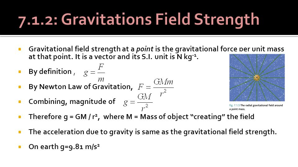  Gravitational field strength at a point is the gravitational force per unit mass at that point.