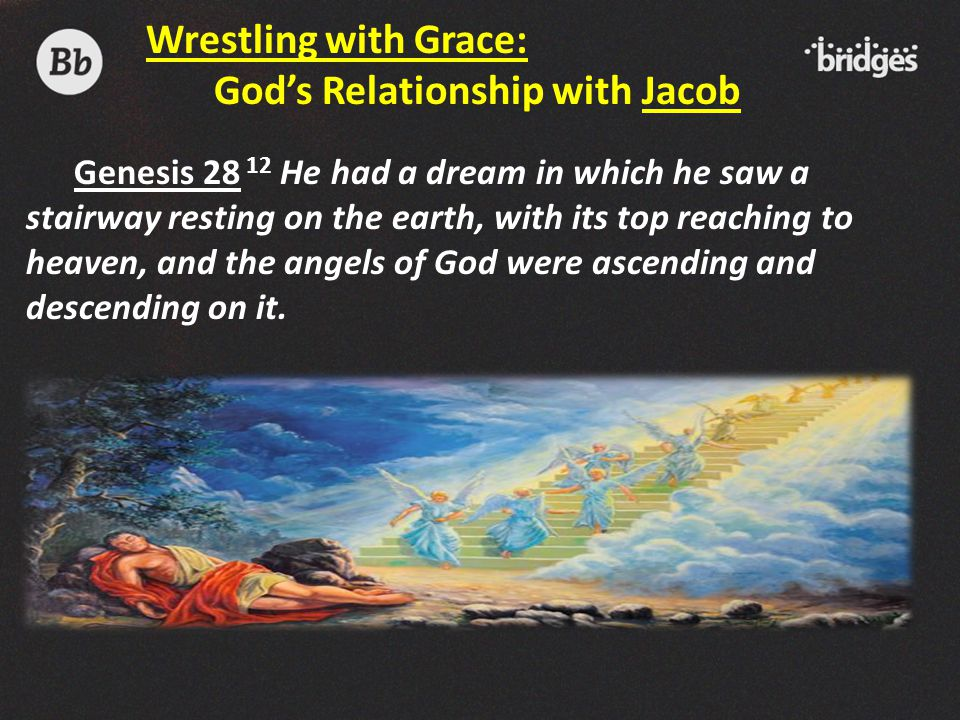 Genesis 28 12 He had a dream in which he saw a stairway resting on the earth, with its top reaching to heaven, and the angels of God were ascending an