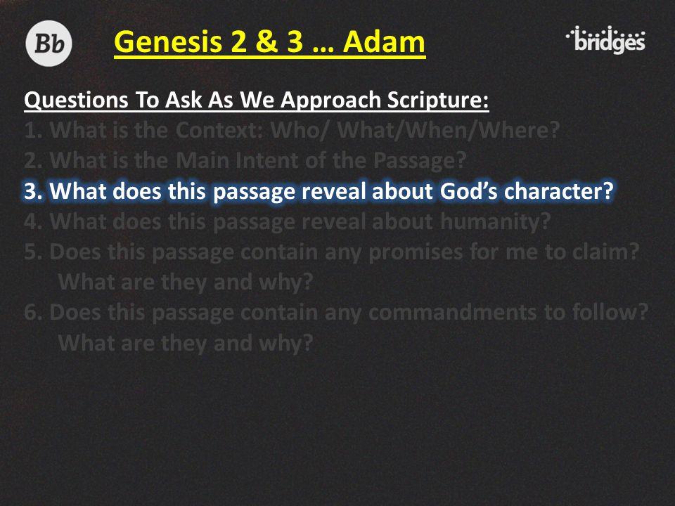 Genesis 2 & 3 … Adam