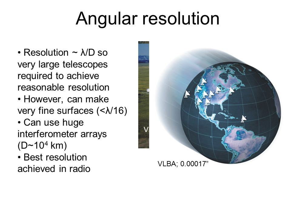 Angular resolution Resolution ~ λ/D so very large telescopes required to achieve reasonable resolution However, can make very fine surfaces (<λ/16) Can use huge interferometer arrays (D~10 4 km) Best resolution achieved in radio VLA 1.3cm 100m GBT VLA: 1-36 km, 0.01-45 , 1.4-43 GHz VLBA; 0.00017