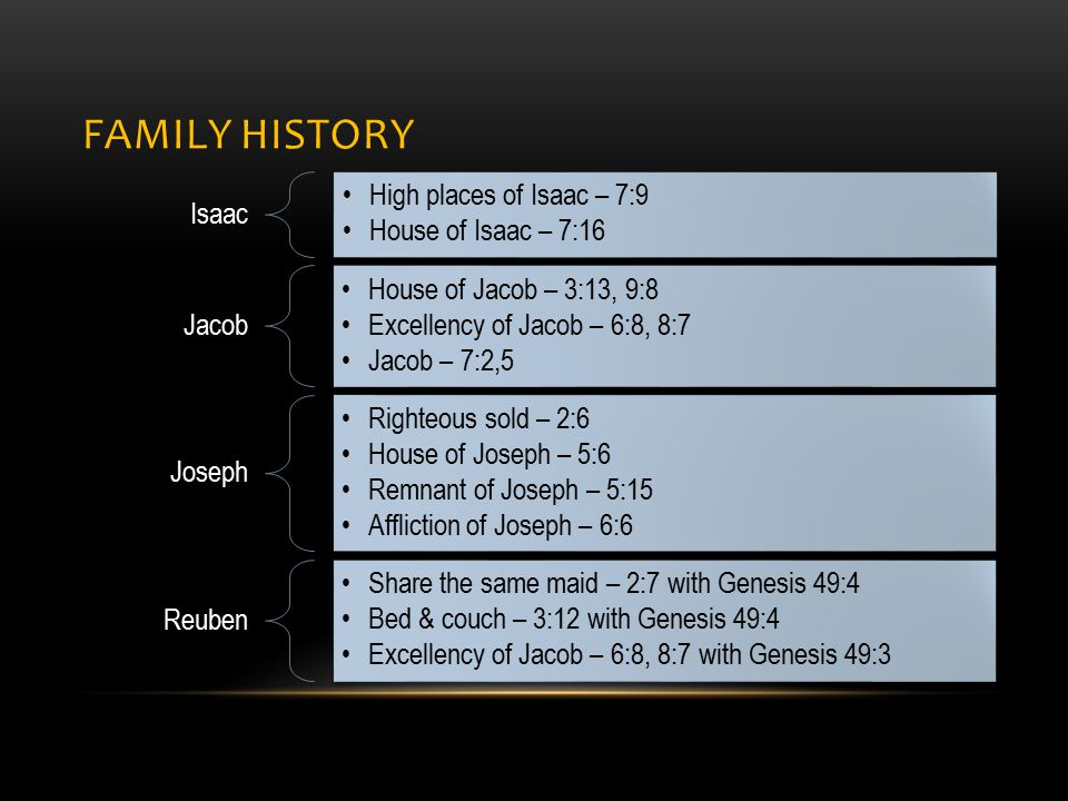 FAMILY HISTORY Isaac High places of Isaac – 7:9 House of Isaac – 7:16 Jacob House of Jacob – 3:13, 9:8 Excellency of Jacob – 6:8, 8:7 Jacob – 7:2,5 Joseph Righteous sold – 2:6 House of Joseph – 5:6 Remnant of Joseph – 5:15 Affliction of Joseph – 6:6 Reuben Share the same maid – 2:7 with Genesis 49:4 Bed & couch – 3:12 with Genesis 49:4 Excellency of Jacob – 6:8, 8:7 with Genesis 49:3