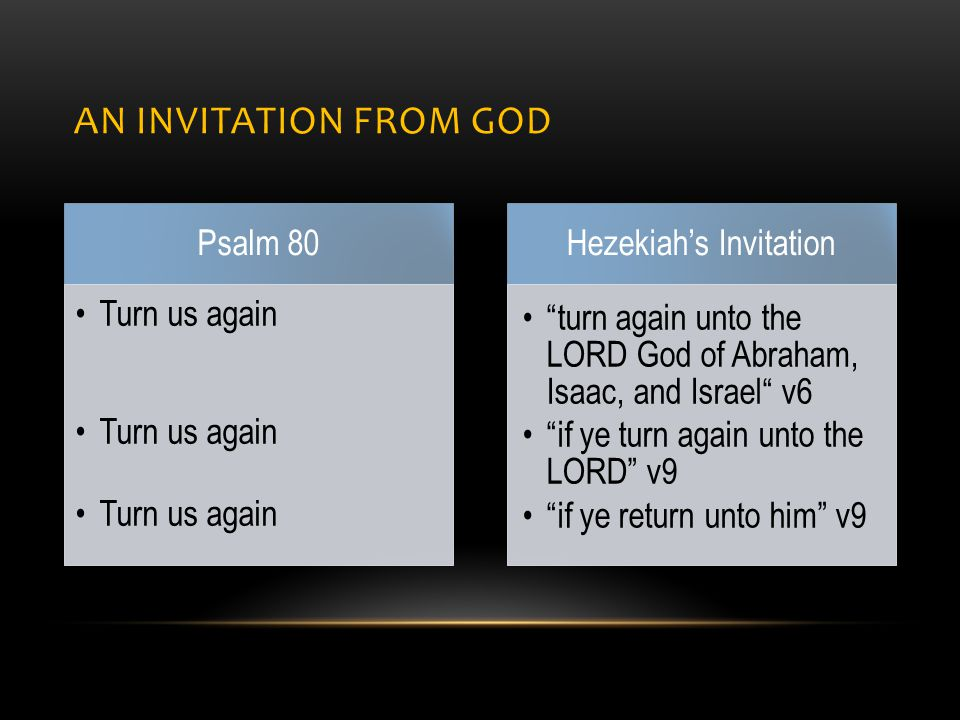 AN INVITATION FROM GOD Psalm 80 Turn us again Hezekiah's Invitation turn again unto the LORD God of Abraham, Isaac, and Israel v6 if ye turn again unto the LORD v9 if ye return unto him v9