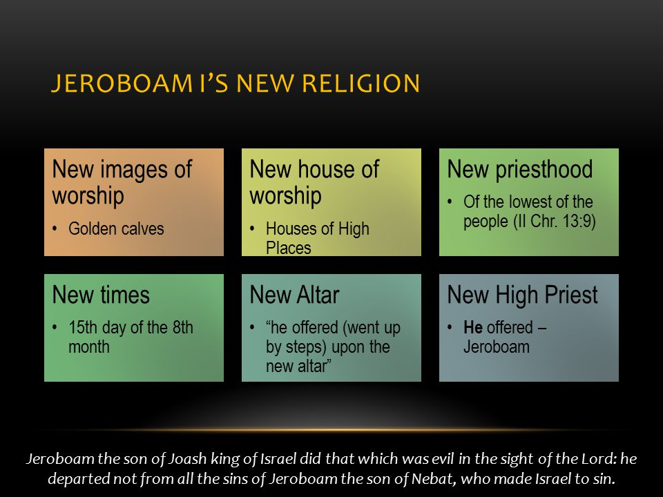 JEROBOAM I'S NEW RELIGION New images of worship Golden calves New house of worship Houses of High Places New priesthood Of the lowest of the people (II Chr.