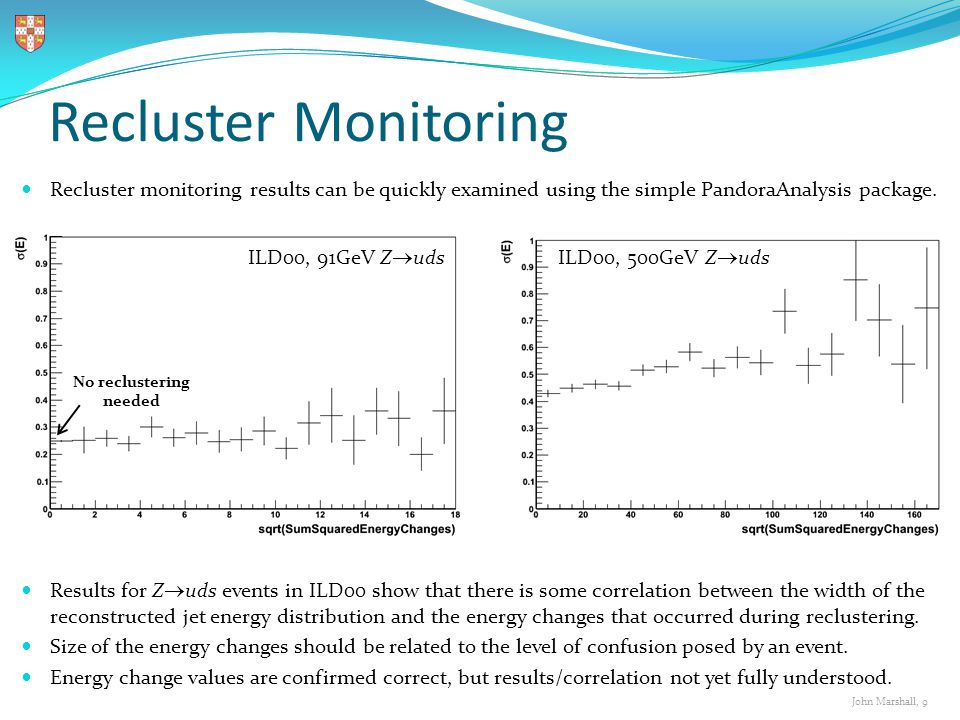 John Marshall, 9 Recluster Monitoring Recluster monitoring results can be quickly examined using the simple PandoraAnalysis package.