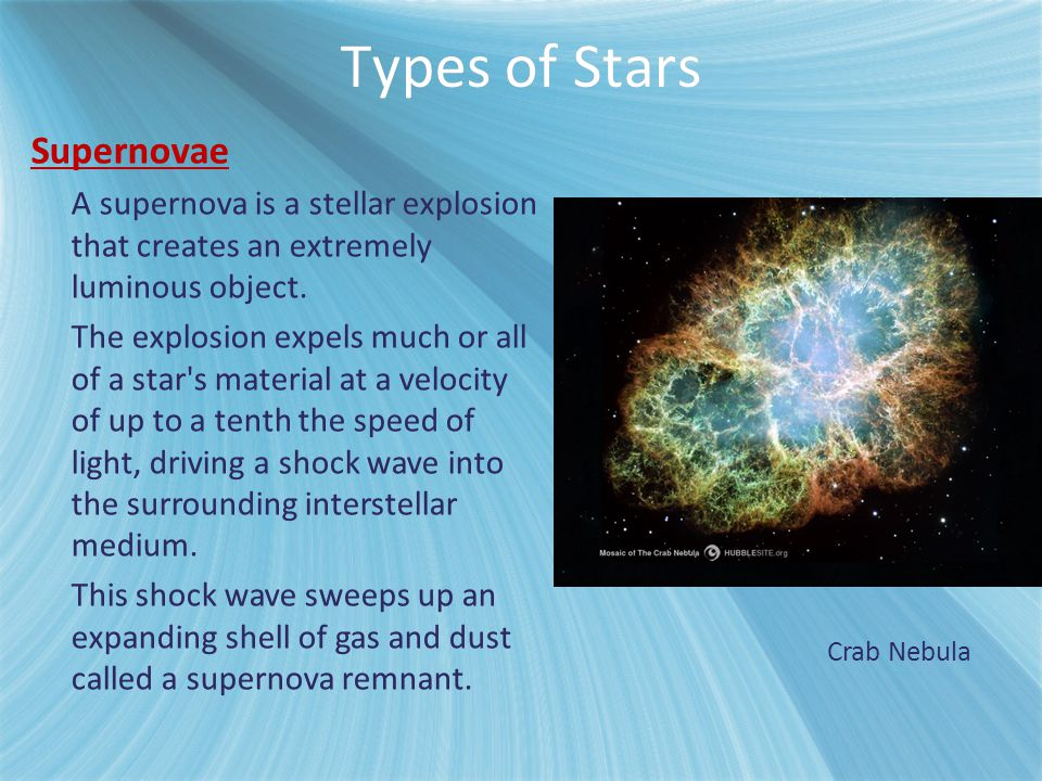 Types of Stars Supernovae A supernova is a stellar explosion that creates an extremely luminous object. The explosion expels much or all of a star's m