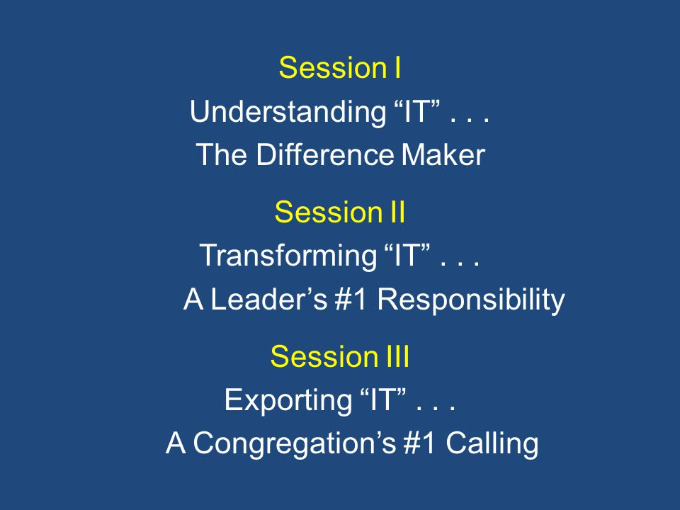 Session I Understanding IT ...The Difference Maker Session II Transforming IT ...