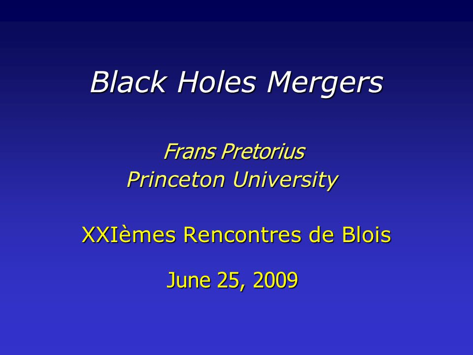 Outline … Numerical relativity and black hole mergers: brief history and current state of the fieldNumerical relativity and black hole mergers: brief history and current state of the field Categorize the two-body problem in general relativity into two classes: rest mass dominated and kinetic energy dominated mergersCategorize the two-body problem in general relativity into two classes: rest mass dominated and kinetic energy dominated mergers rest mass dominated mergers: relevant to gravitational wave astronomyrest mass dominated mergers: relevant to gravitational wave astronomy phases: Newtonian , inspiral  quasi-circular inspiral, plunge/merger, ringdownphases: Newtonian , inspiral  quasi-circular inspiral, plunge/merger, ringdown brief overview of a couple of the more interesting results recently uncovered by numerical simulationsbrief overview of a couple of the more interesting results recently uncovered by numerical simulations – simplicity of the merger waveform –large recoil velocities
