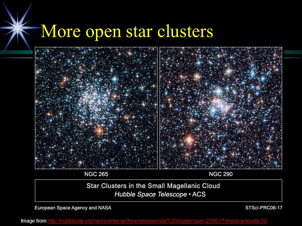 More open star clusters Image from http://hubblesite.org/newscenter/archive/releases/star%20cluster/open/2006/17/image/a/results/50/http://hubblesite.