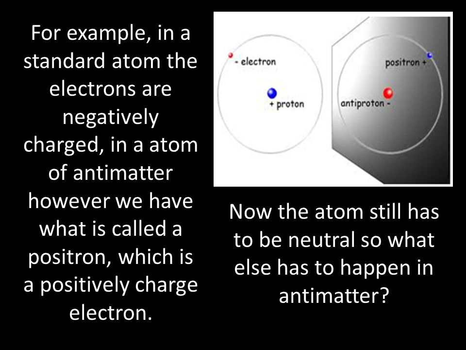 For example, in a standard atom the electrons are negatively charged, in a atom of antimatter however we have what is called a positron, which is a positively charge electron.