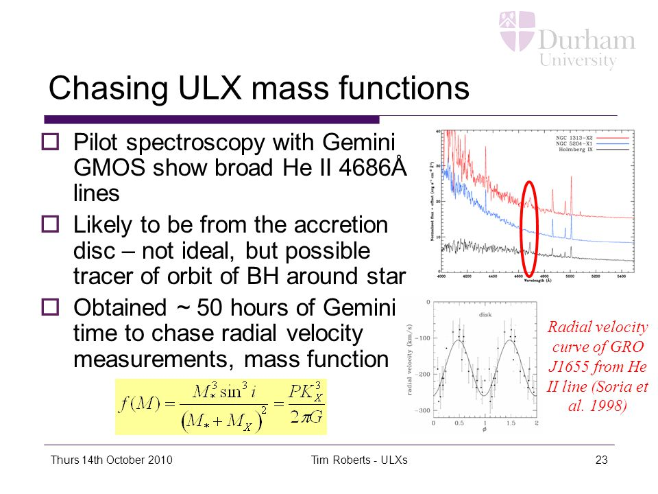 Thurs 14th October 2010Tim Roberts - ULXs23 Chasing ULX mass functions  Pilot spectroscopy with Gemini GMOS show broad He II 4686Å lines  Likely to