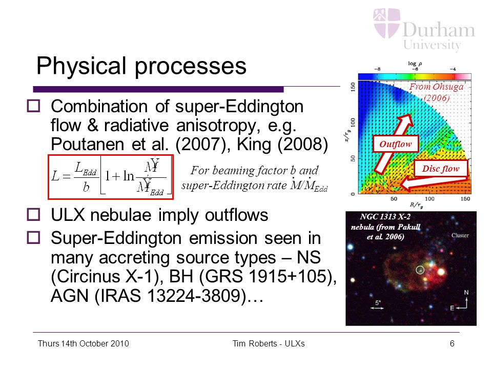 Thurs 14th October 2010Tim Roberts - ULXs6 Physical processes  Combination of super-Eddington flow & radiative anisotropy, e.g.