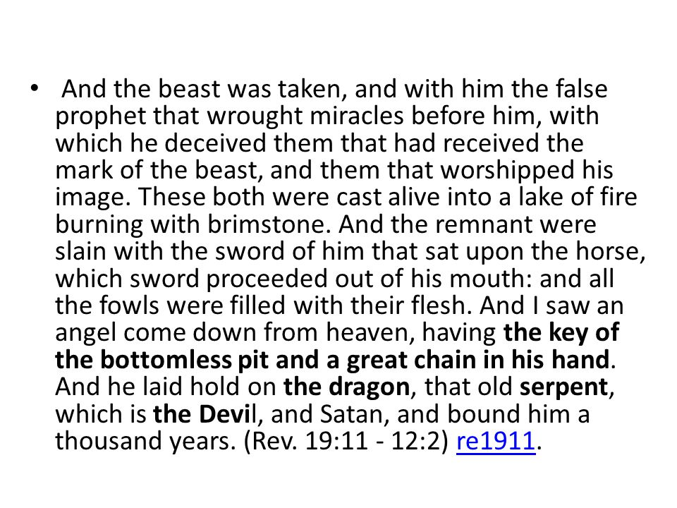 And the beast was taken, and with him the false prophet that wrought miracles before him, with which he deceived them that had received the mark of the beast, and them that worshipped his image.