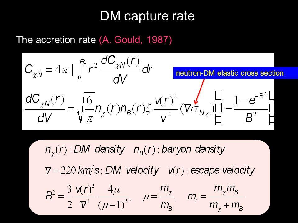 DM capture rate The accretion rate (A. Gould, 1987) neutron-DM elastic cross section