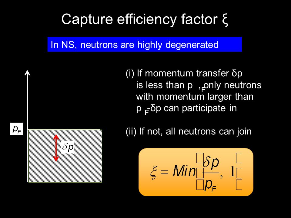 Capture efficiency factor ξ (i) If momentum transfer δp is less than p, only neutrons with momentum larger than p -δp can participate in (ii) If not,