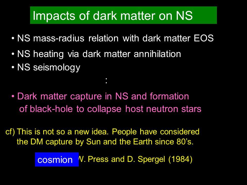 Impacts of dark matter on NS NS mass-radius relation with dark matter EOS NS heating via dark matter annihilation NS seismology : cf) This is not so a new idea.
