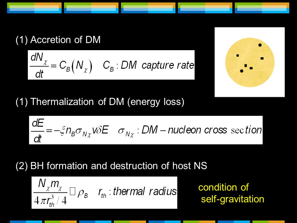 (1)Accretion of DM (1)Thermalization of DM (energy loss) (2)BH formation and destruction of host NS condition of self-gravitation