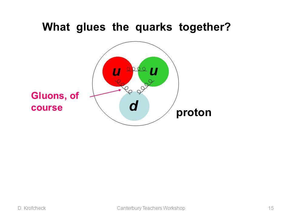 What glues the quarks together? u u d proton Gluons, of course D. KrofcheckCanterbury Teachers Workshop15
