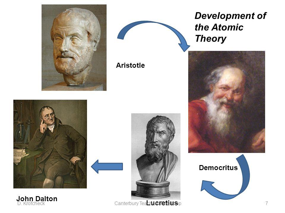 Democritus Lucretius John Dalton Development of the Atomic Theory Aristotle D.