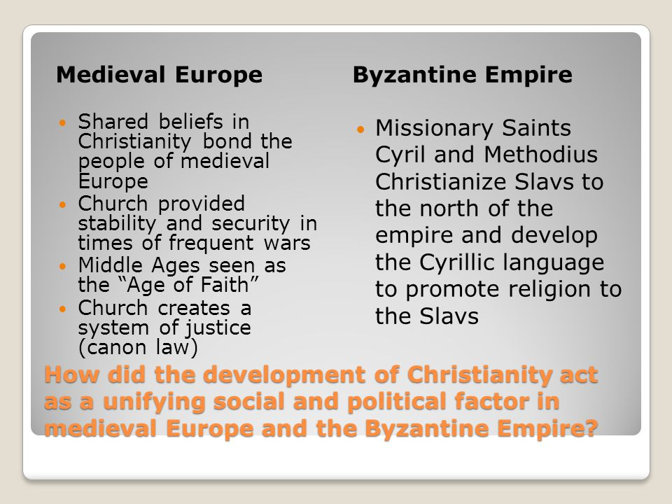 How did the development of Christianity act as a unifying social and political factor in medieval Europe and the Byzantine Empire? Medieval EuropeByza