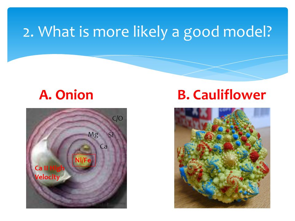 2. What is more likely a good model Ni/Fe Ca II High Velocity C/O Si Ca Mg A. OnionB. Cauliflower