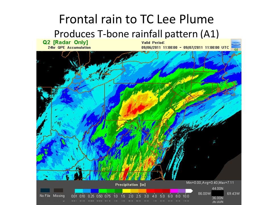 Frontal rain to TC Lee Plume Produces T-bone rainfall pattern (A1)