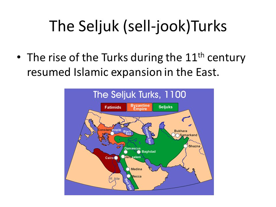 The Seljuk (sell-jook)Turks The rise of the Turks during the 11 th century resumed Islamic expansion in the East.