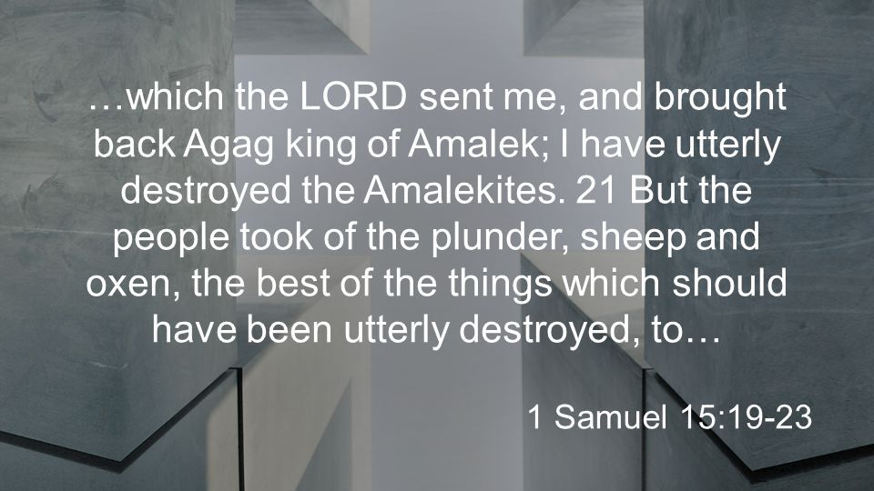 …which the LORD sent me, and brought back Agag king of Amalek; I have utterly destroyed the Amalekites.